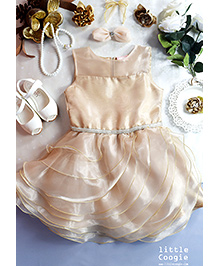 Little Coogie Layered Party Wear Dress - Off White