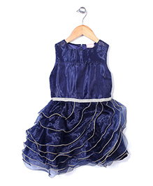 Little Coogie Layered Party Wear Dress - Navy Blue