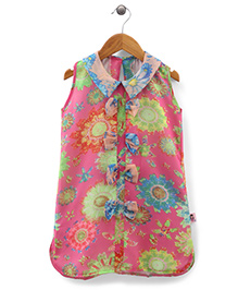 Chic Girls Flower Print Top - Pink & Multicolour