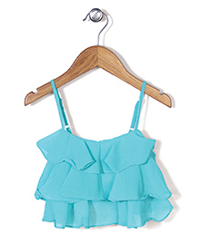Chic Girls Frilled Singlet Top - Aqua Blue