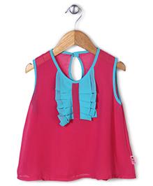 Chic Girls Dual Shade Stylish Top - Blue & Fuschia Pink
