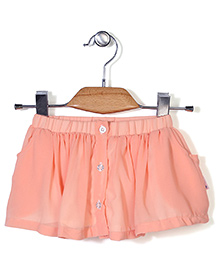 Chic Girls Skirt With Front Buttons - Peach