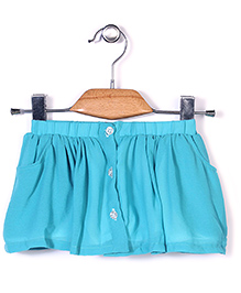 Chic Girls Skirt With Front Buttons - Sea Green