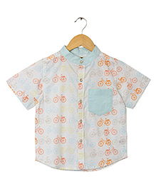 Hugsntugs Bicycle Print Shirt - Multicolour