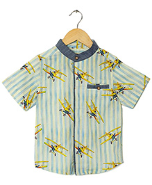 Hugsntugs Glider Print Striped Shirt - Blue & White