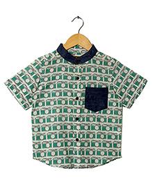 Hugsntugs Camera Print Shirt - Green & Navy Blue