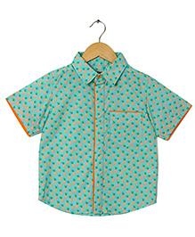 Hugsntugs Pineapple Print Shirt - Sea Green