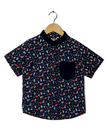 Hugsntugs Rocket Print Shirt - Navy Blue