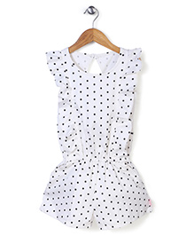 Chic Girls Polka Dot Jumpsuit - White