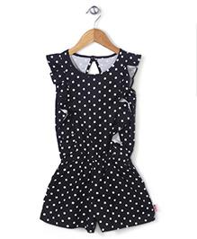 Chic Girls Polka Dot Jumpsuit - Black