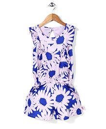 Chic Girls Sunflower Print Jumpsuit - Blue