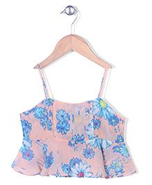 Chic Girls Singlet Flower Print Top - Peach & Blue