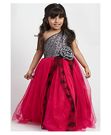 PinkCow Sequenced Gown with Bow - Grey & Fuschia