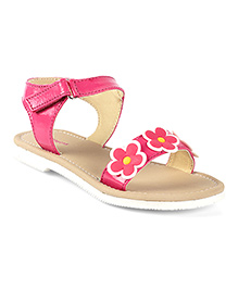 Kittens Shoes Floral Applique Sandal With Velcro Closure - Fuchsia