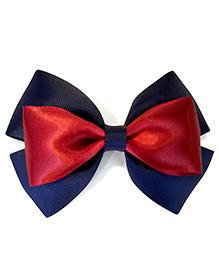 Keira's Pretties Bow Hair Clip - Navy Blue & Maroon