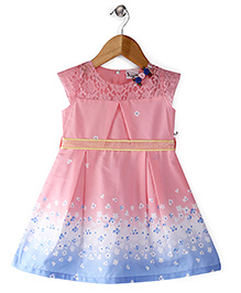 Rosy Bow Cap Sleeves Frock Floral Motifs - Pink