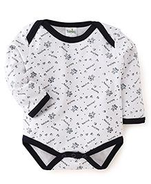 Babyhug Full Sleeves Printed Onesie - Navy White