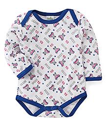 Babyhug Full Sleeves Printed Onesie - White Royal Blue