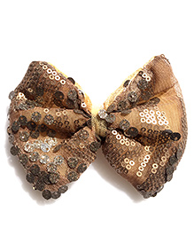 Pretty Ponytails Sequinned Large Bow Hair Clip - Antique Gold
