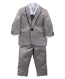 Babyhug Four Piece Party Suit - Grey