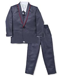 Robo Fry 4 Pieces Party Wear Suit Set With Tie - Dark Grey