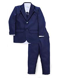 Babyhug Party Wear Four Pieces Set With Tie - Dark Blue