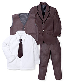 Babyhug Party Wear Four Pieces Set With Tie - Brown
