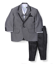 Babyhug 3 Piece Party Suit With Bow - White Grey