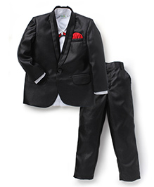 Babyhug Full Sleeves 3 Piece Party Wear Suit With Bow - Black