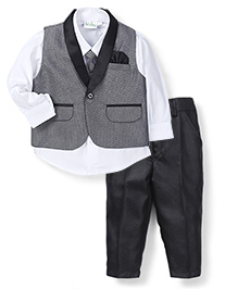 Babyhug 3 Piece Party Suit With Tie - Grey White