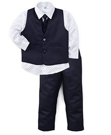 Babyhug 3 Pieces Party Wear Suit Set With Tie - Blue