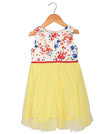Sequences Dress With Floral Printed Top - Yellow