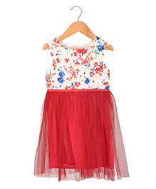 Sequences Dress With Floral Printed Top - Red