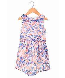 Sequences Water Color Polka Print High Low Hem Dress - Multicolour