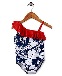 Milonee Floral Print Swimwear With Red Flares - Navy Blue & Red