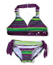 Milonee Stripe 2 Piece Bikini Swimwear - Purple and Green