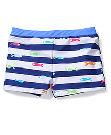 MIlonee Stripe With Fish Print Swimming Trunks - Blue and White