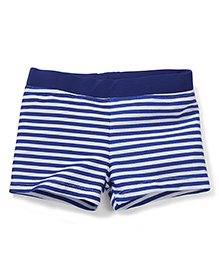 Milonee White Stripes Swimming Trunk - Navy and White