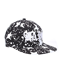 Milonee Big Star Print Cap - Black and White