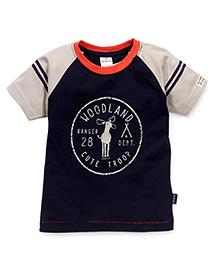 Ollypop Half Sleeves T-Shirt Woodland Print - Navy Blue