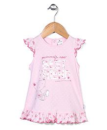 Ollypop Ruffle Sleeves Frock Friend Print - Pink