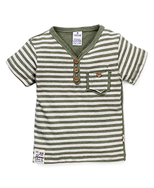 Ollypop Half Sleeves T-Shirt Stripes Print - Olive Green