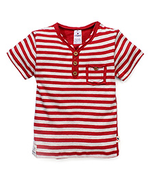 Ollypop Half Sleeves T-Shirt Stripes Print - Red