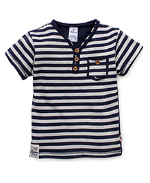 Ollypop Half Sleeves T-Shirt Stripes Print - Blue