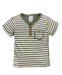 Ollypop Half Sleeves Stripe T-Shirt - Green