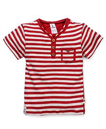 Ollypop Half Sleeves Stripe T-Shirt - Red