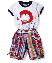 Formula 1 T-Shirt & Shorts With Suspender Set - White & Red