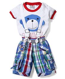 Formula 1 T-Shirt & Shorts With Suspender Set - White & Blue