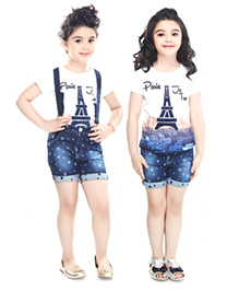 N-XT Short Sleeves Top And Shorts With Suspenders Paris Print - White Blue