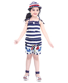 N-XT Singlet Stripe Jumpsuit With Cap Doll Print - Blue